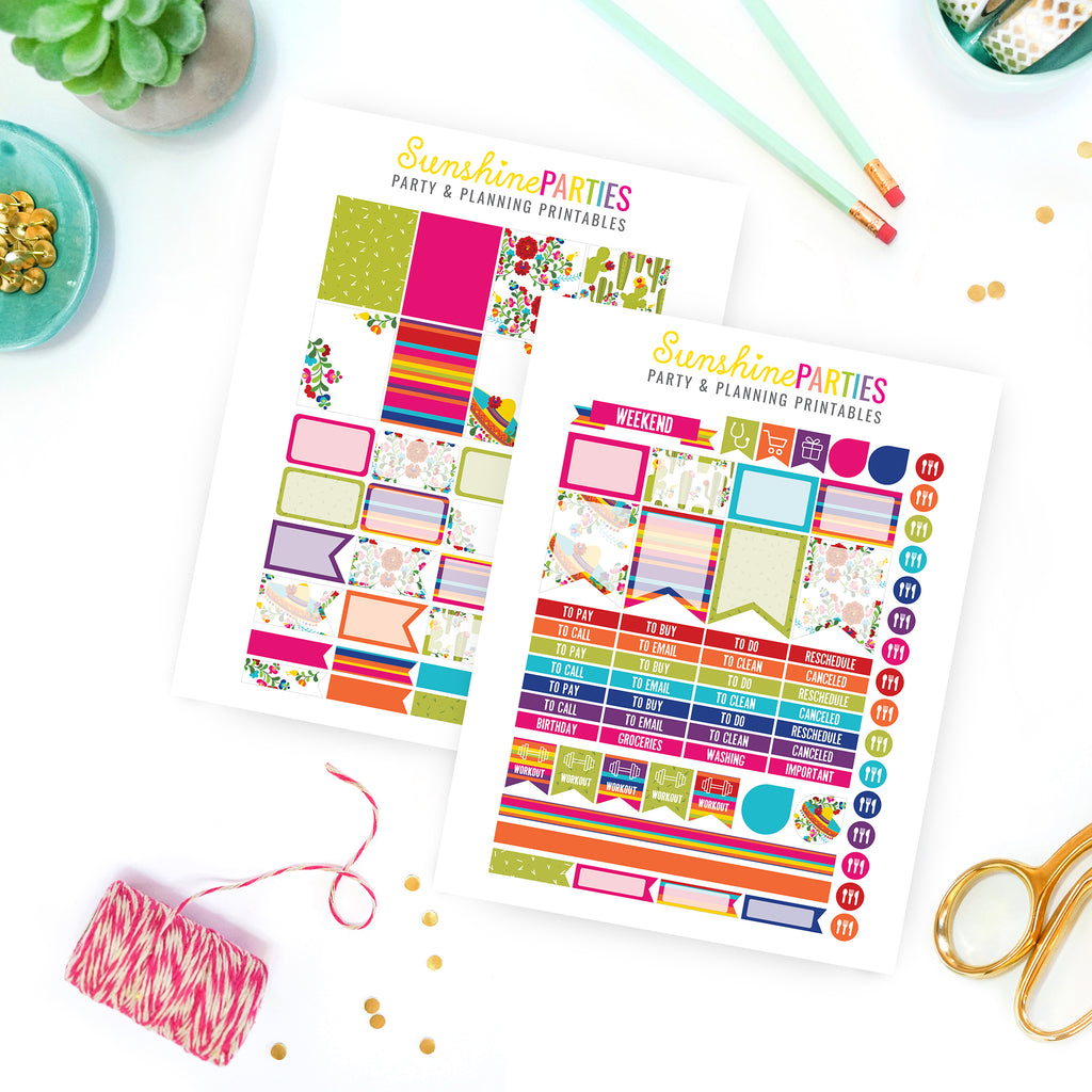 Bright Fiesta Planner Stickers