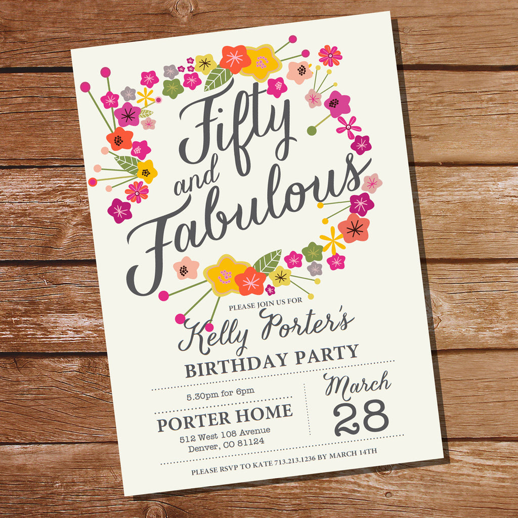 Floral Fifty and Fabulous Birthday Invitation