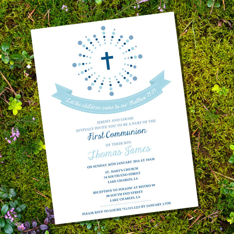 First Communion | Baptism | Christening Invitation For A Boy