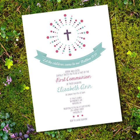 First Communion | Baptism | Christening Invitation For A Girl