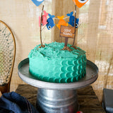 fishing party cake, cake bunting and gone fishing cake topper