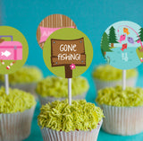 Girl's Gone Fishing Cupcake Topper Set