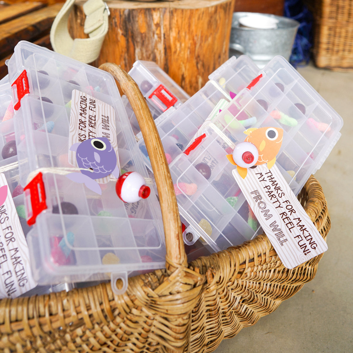 Girl's Fishing Party Favor Tags