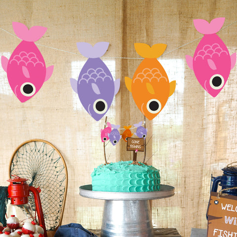 Girl's 'Gone Fishing'Party Fishing Banner