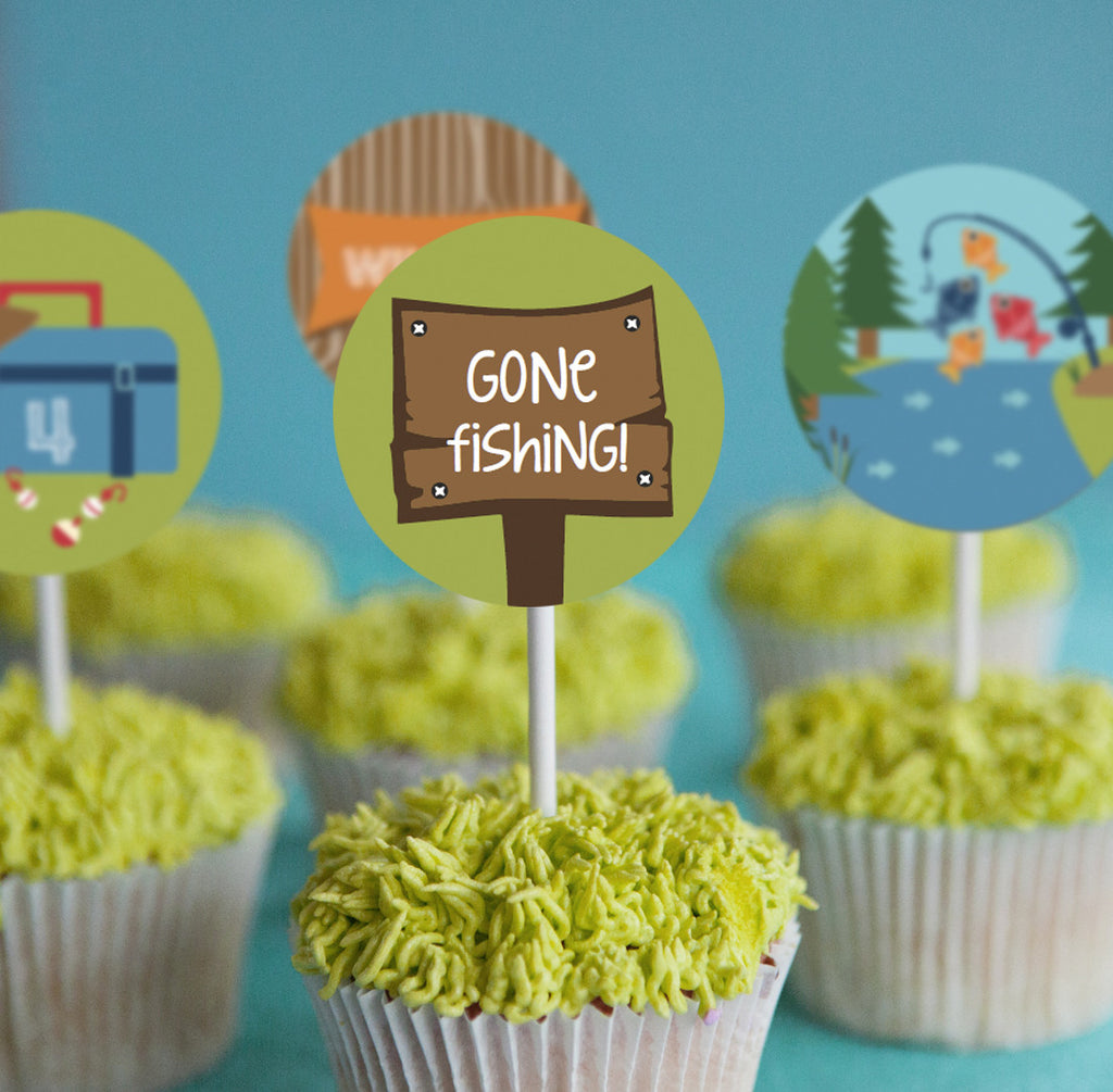 fishing party cupcake cake toppers - gone fishing cupcake decorations