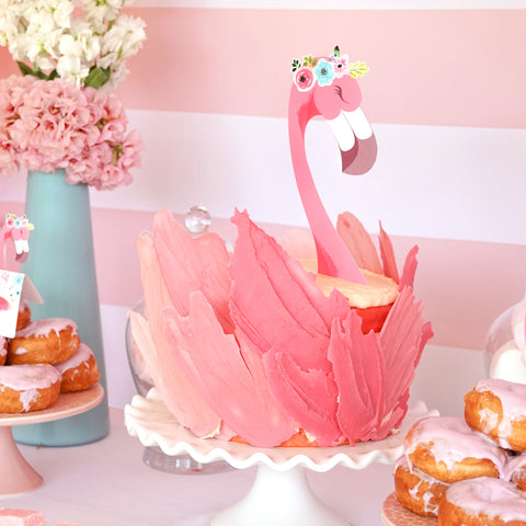 Pink Flamingo Cake Topper for girl's party