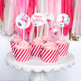 Flamingo cupcake wrapper and topper