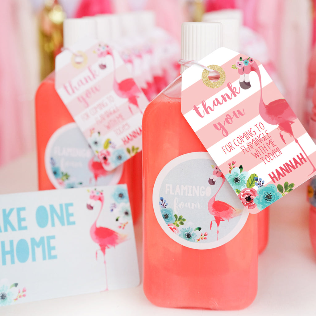 Flamingo Party Favor Tags and Favor Circles