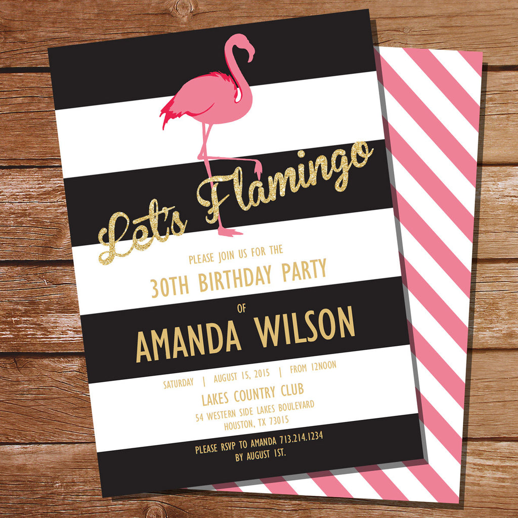 Pink Flamingo Summer Pool Party Invitation