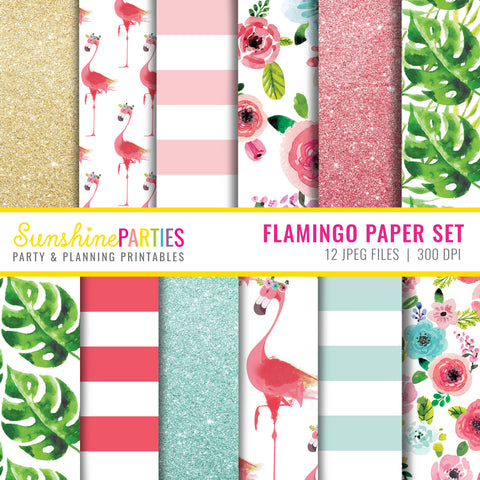 Tropical Flamingo Digital Paper Set