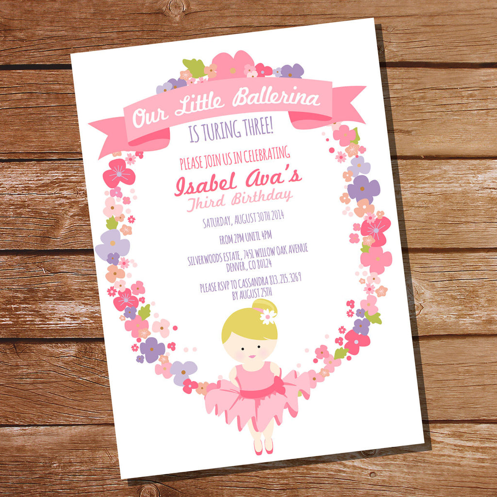 Floral Wreath Ballerina Invitation for a Little Girl