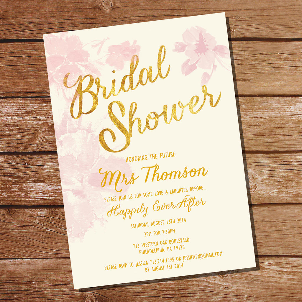 Pink Watercolor Floral Bridal Shower Invitation Pink And Gold