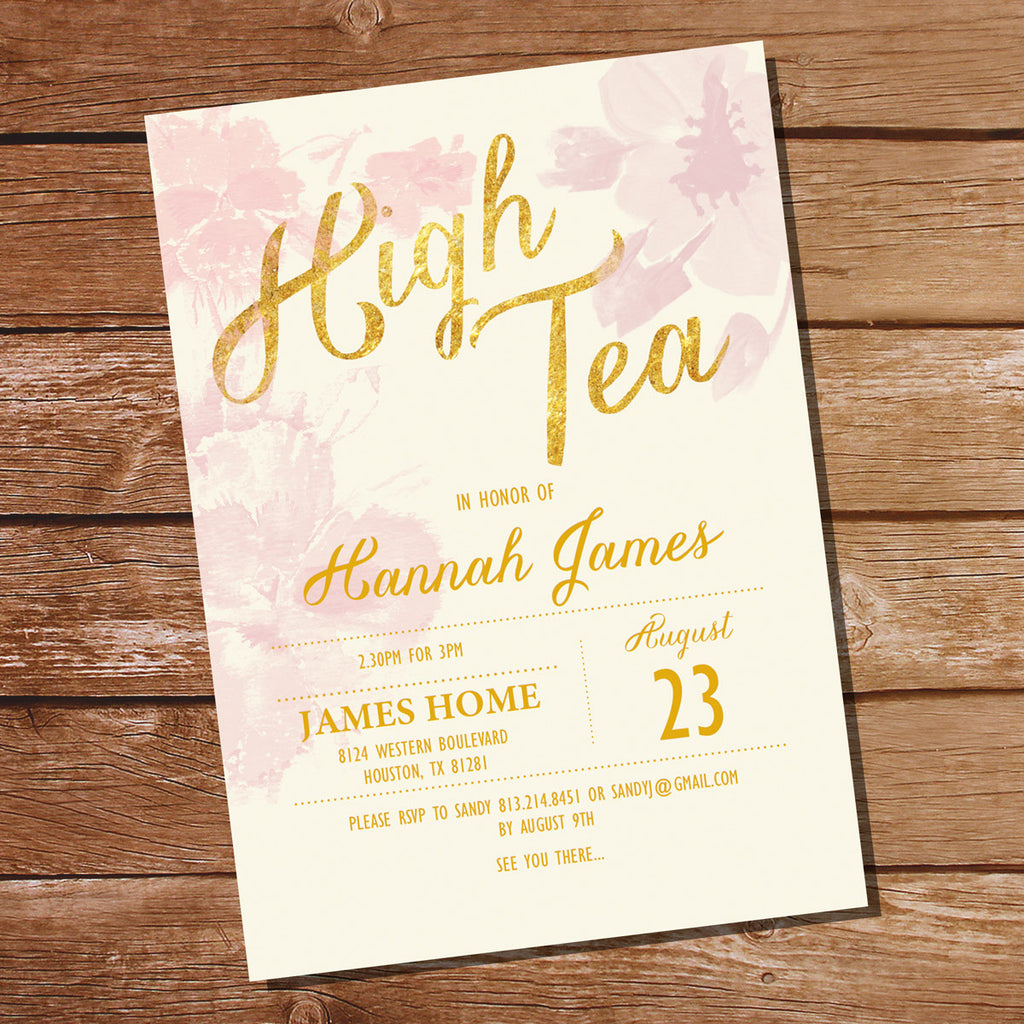 Pink watercolor floral high tea birthday party invitation pink and how it works stopboris Images