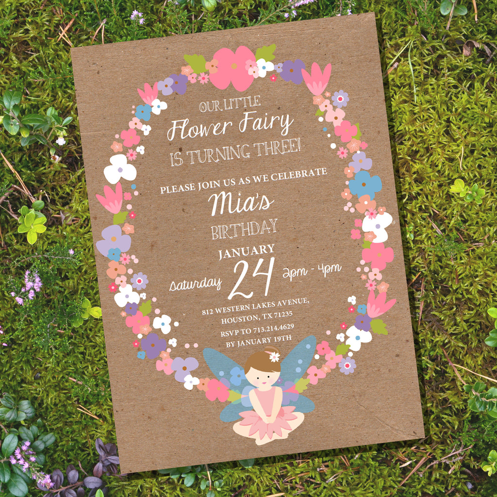 Flower Fairy Party Invitation | Woodland Fairy Kraft Invitation