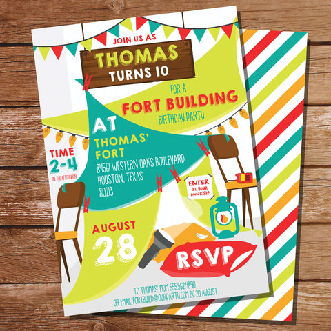 Fort Building Party Invitation