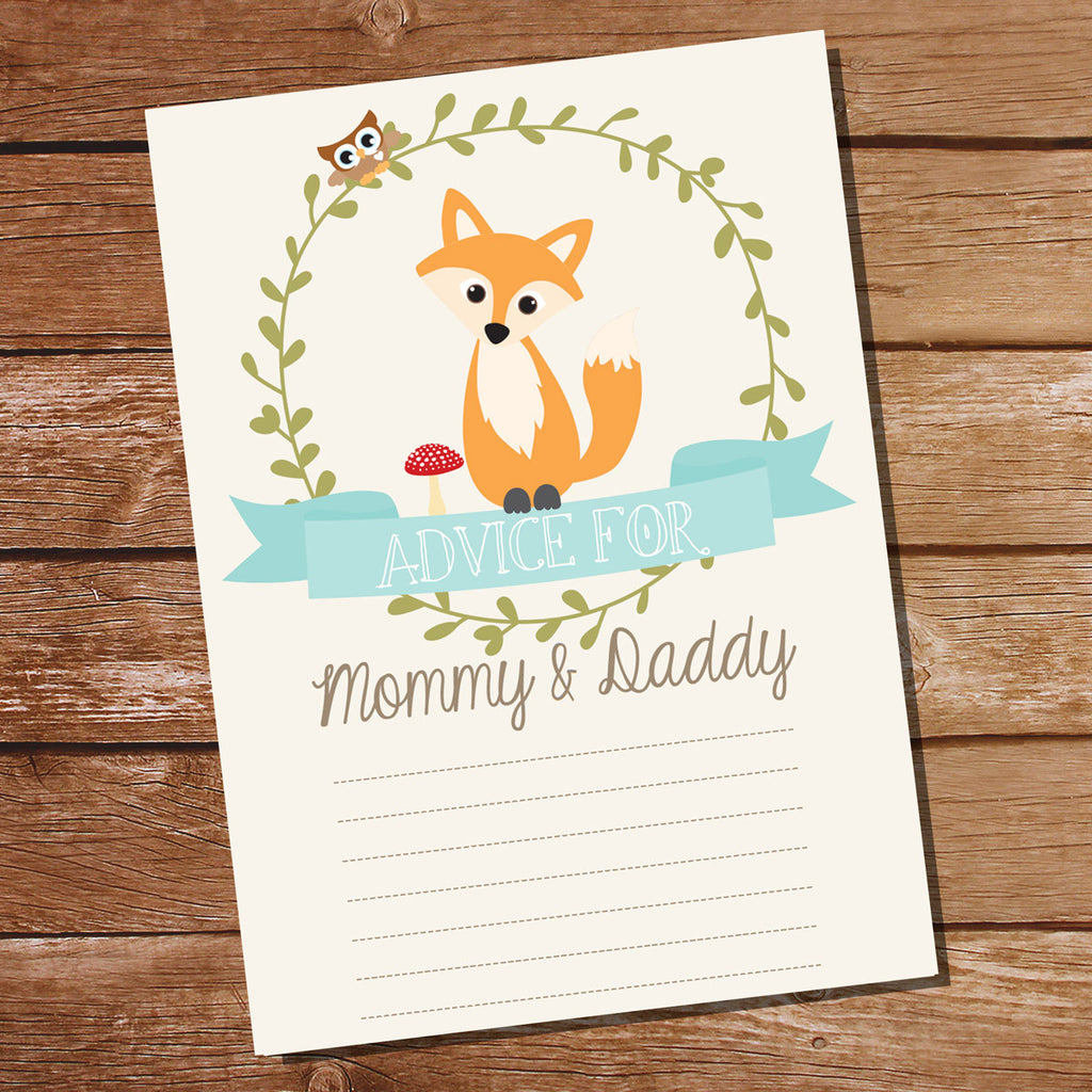 Fox Baby Shower Advice Card | Unisex Baby Shower