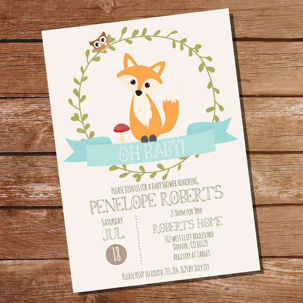 Fox baby shower invitation for a boy or girl unisex baby shower fox baby shower invitation for a boy or girl stopboris Image collections