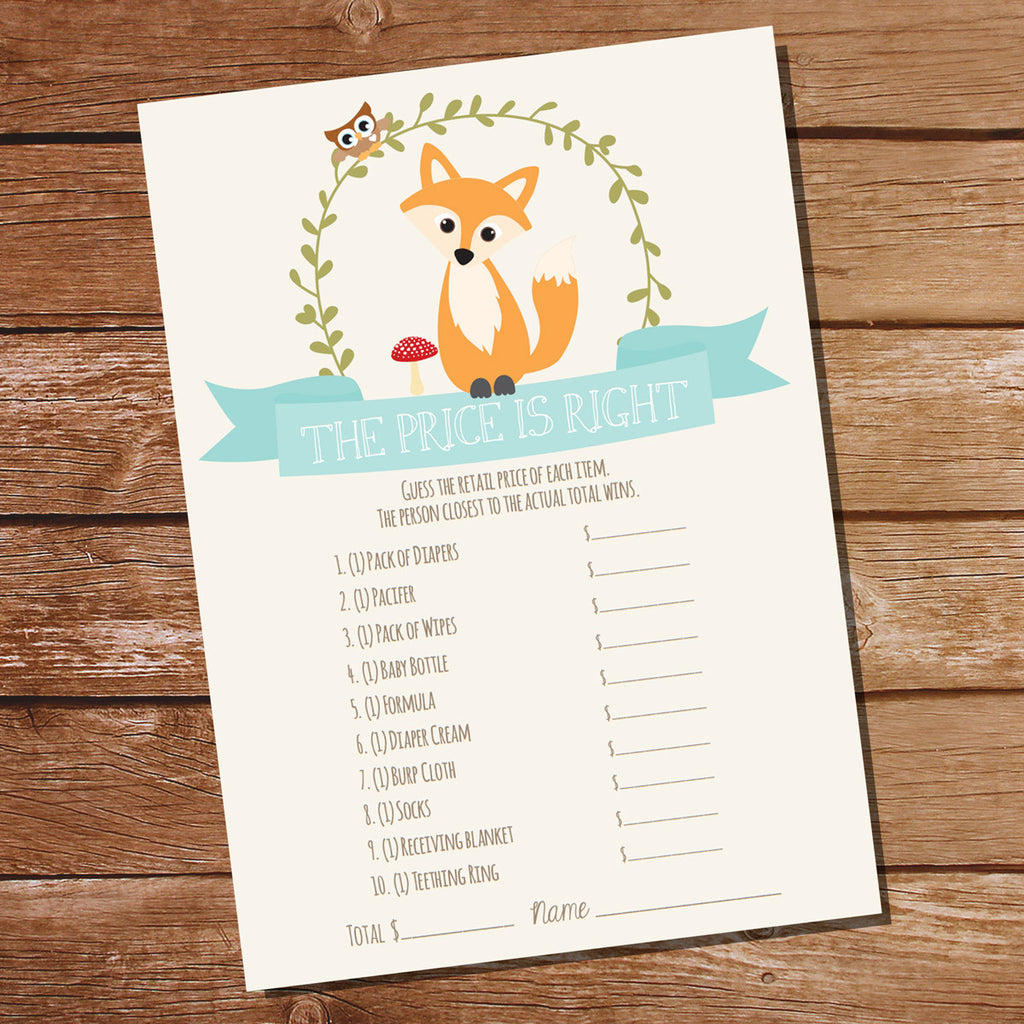 Fox Baby Shower Game The Price Is Right | Unisex Baby Shower