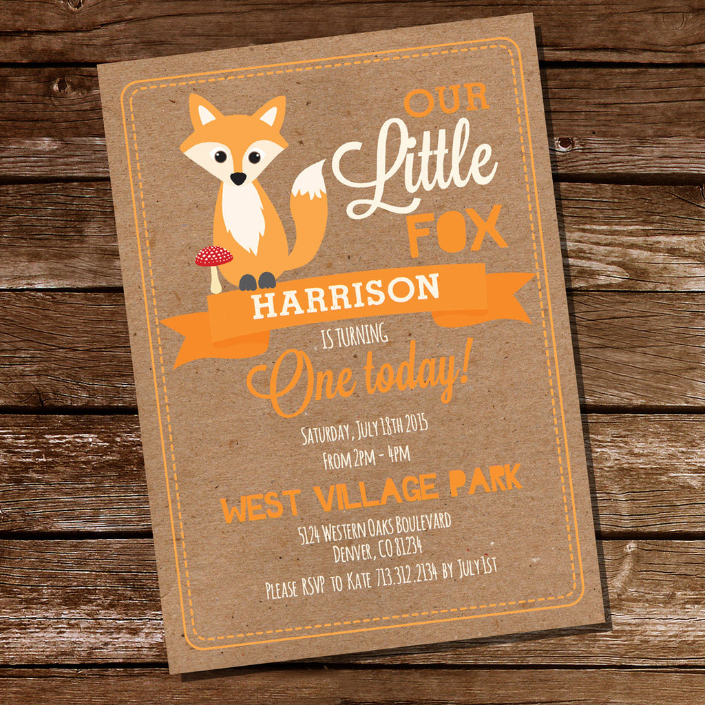Fox Birthday Party Invitation | First Birthday Invitation