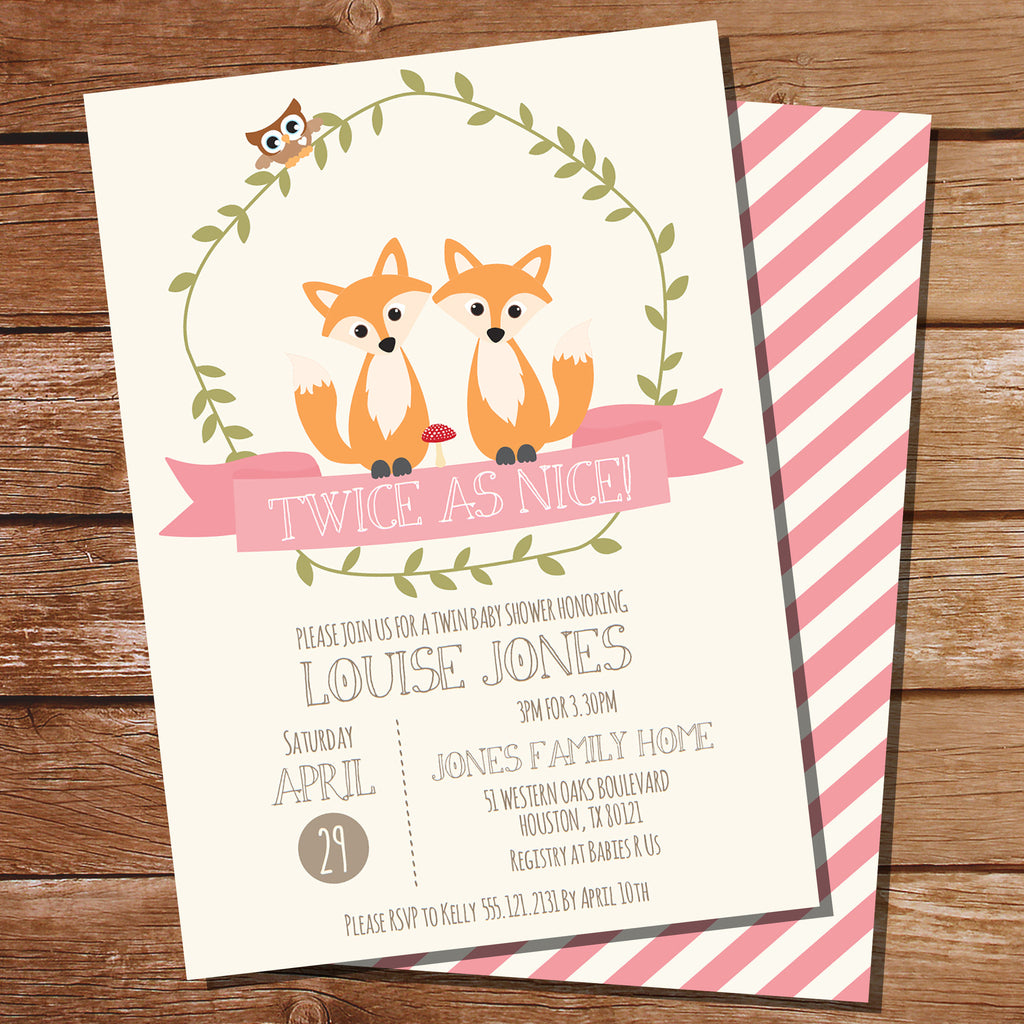 Twin Fox Baby Shower Invitation For Girls Twin Baby Shower