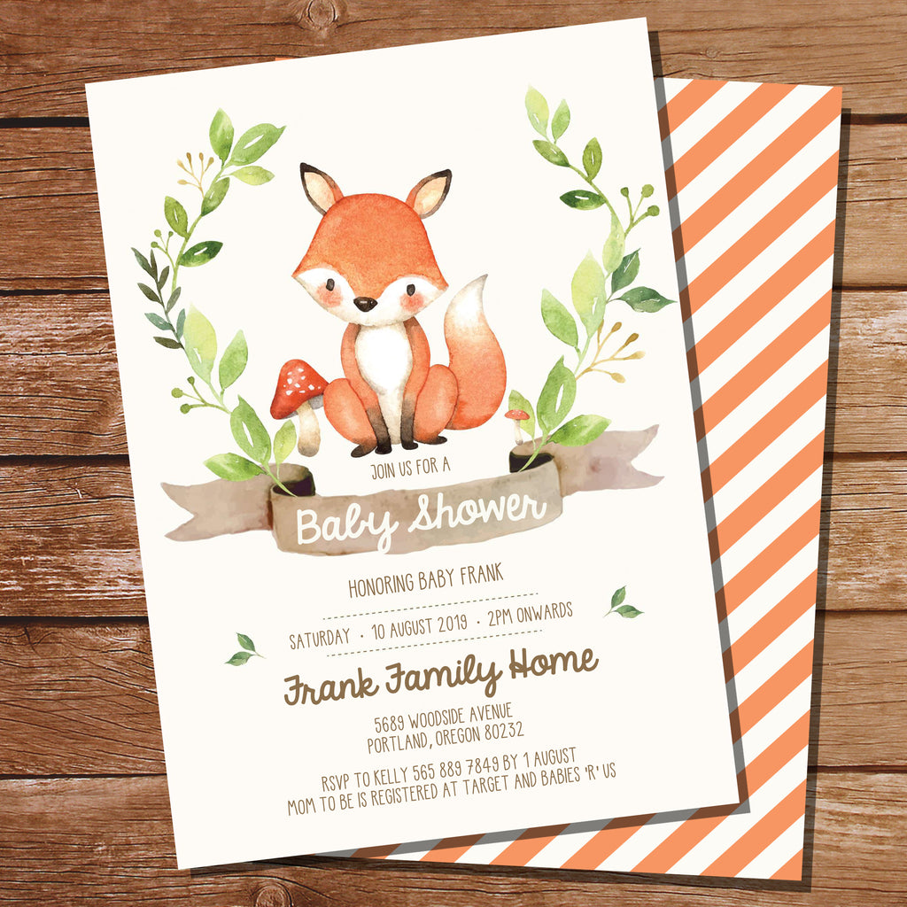 Fox Baby Shower Invitation