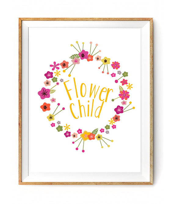 So pretty! Perfect for your little one's bedroom wall! A bright., modern and whimsical styled floral wreath with 'Flower Child'.