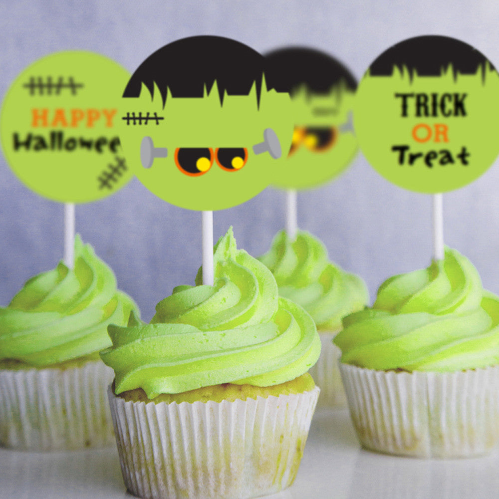 Frankenstein Halloween Cupcake Toppers | Halloween Toppers