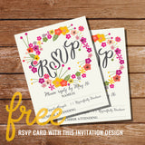Floral Eightieth Birthday Invitation | 80th birthday invitation | FREE RSVP Card