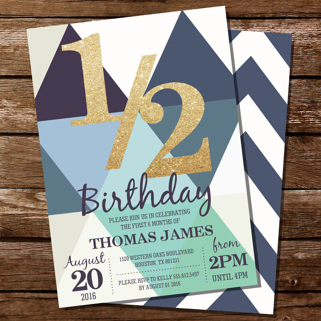 Half Birthday Invitation For a Boy | Gold Glitter Invitation