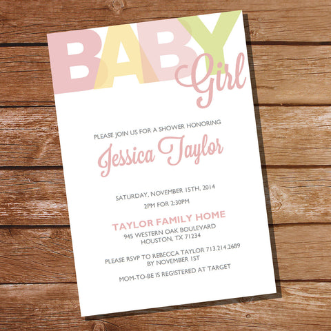Girl Pastels Baby Shower Invitation