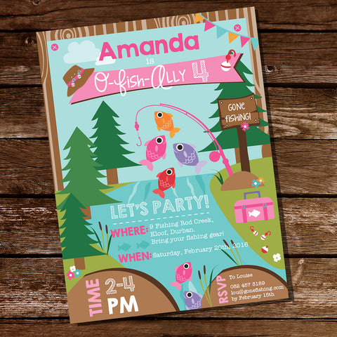 Girl's Fishing Party Printable Invitation