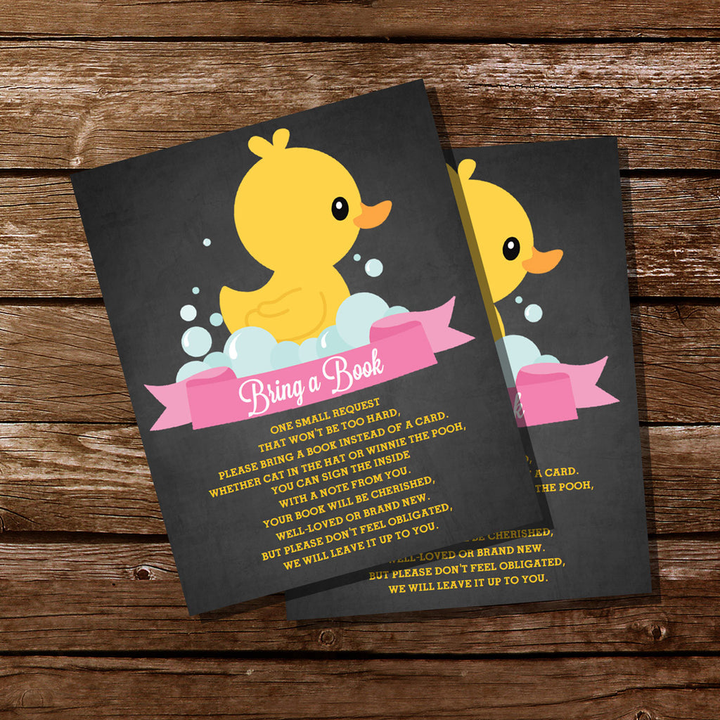 Rubber Duck Baby Bring A Book Shower Insert Card