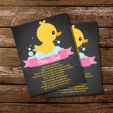 Rubber Duck Baby Shower Bring A Book Insert Card