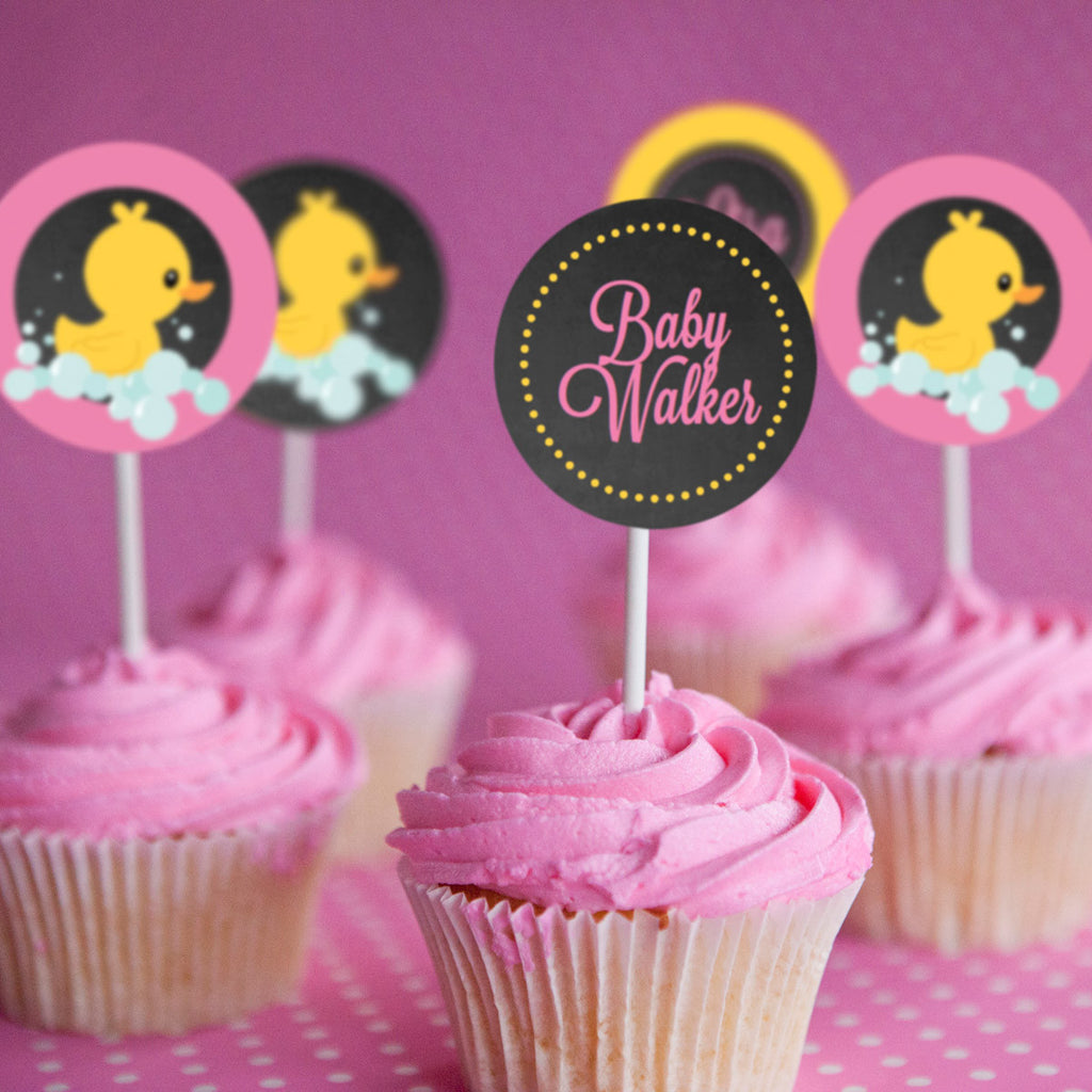 Rubber duck baby shower cupcake toppers for a girl for Baby shower cupcake picks decoration