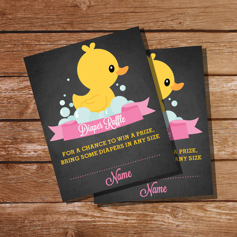 Rubber Duck Baby Shower Diaper Raffle Insert Card