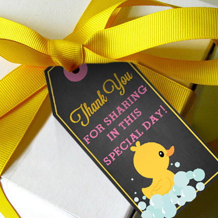 Rubber Duck Baby Shower Favor Tags For A Girl