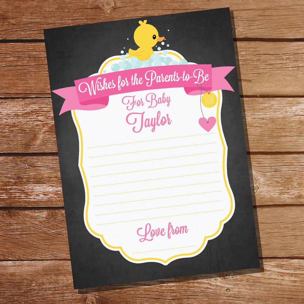 Rubber Duck Baby Shower Game Card For A Girl