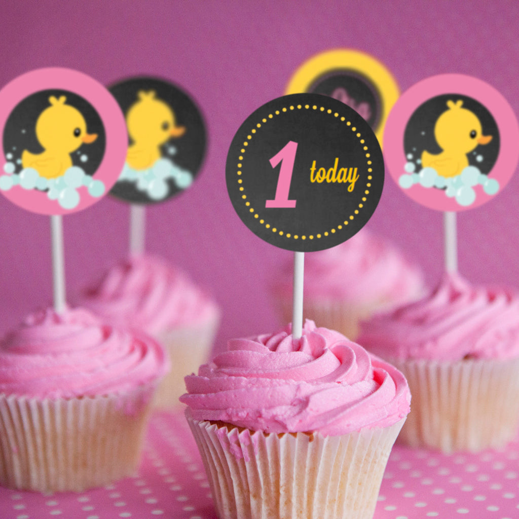 Rubber Duck Birthday Party Cupcake Toppers For A Girl
