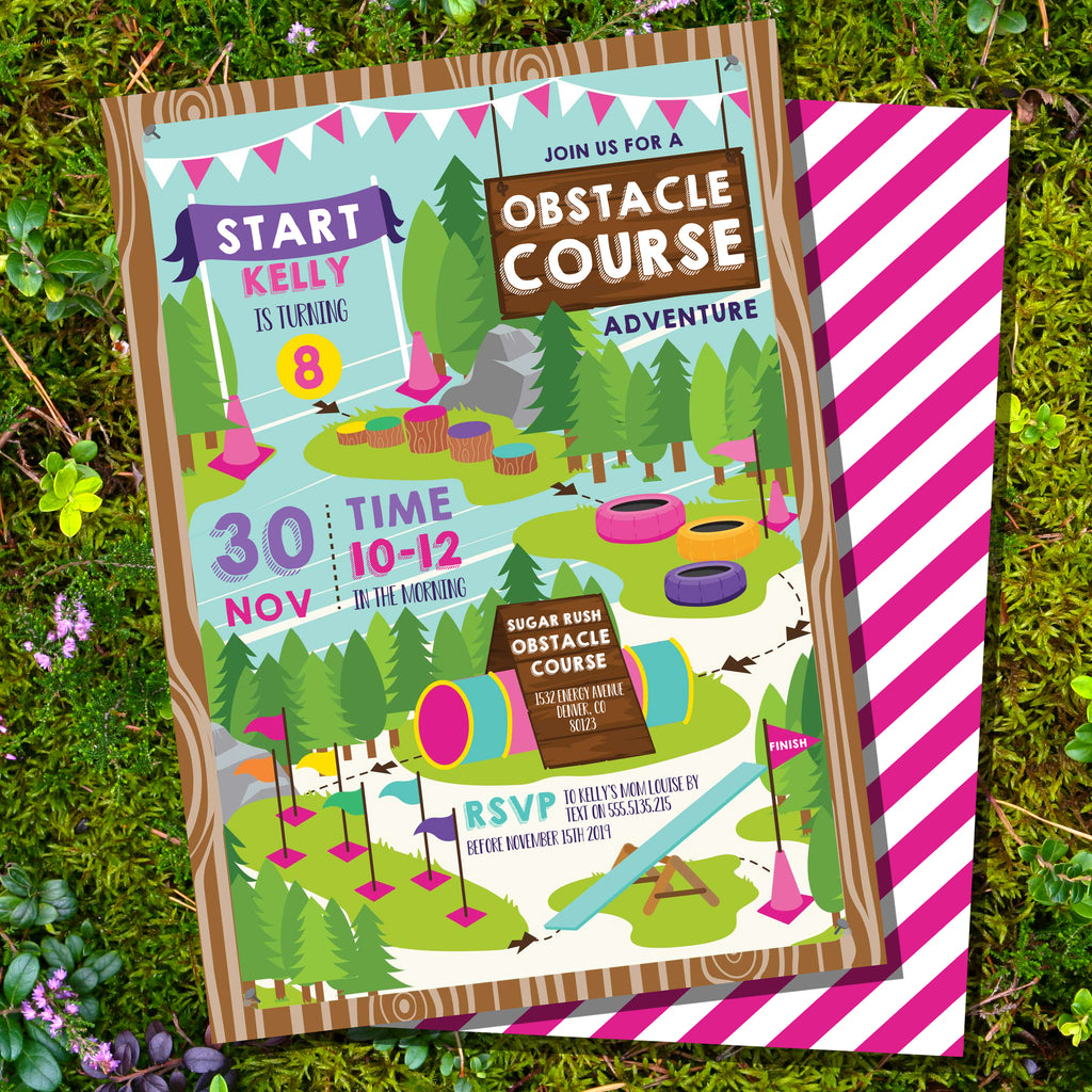 Obstacle Course Party Invitation For Girls