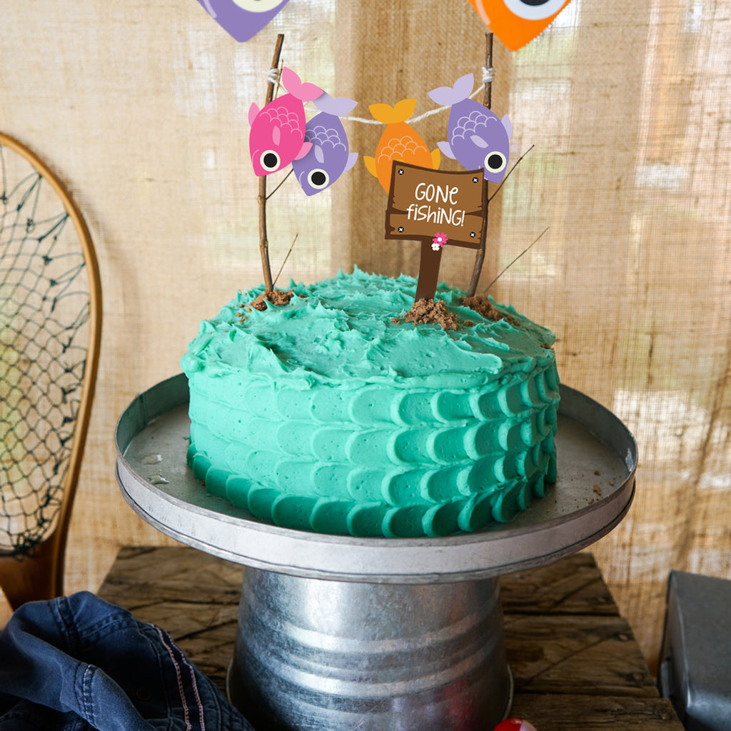 Girl's Fishing Party Cake Bunting and Gone Fishing Cake Topper