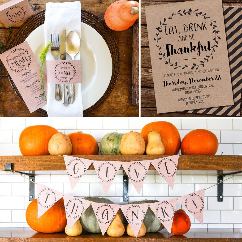 Thanksgiving Dinner Decor | Kraft Thanksgiving Printables | Thanksgiving Decorations