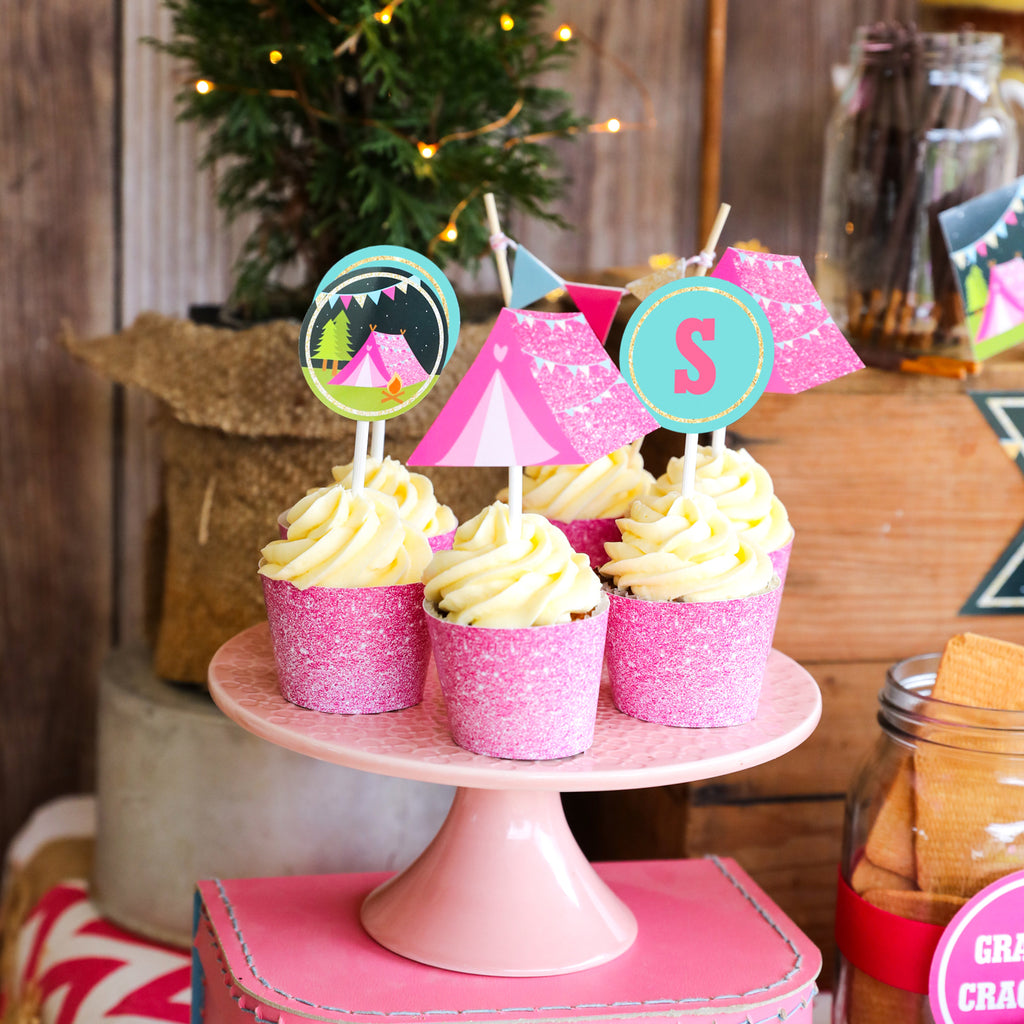 Pink Glamping Party Cupcake Toppers and Wrappers