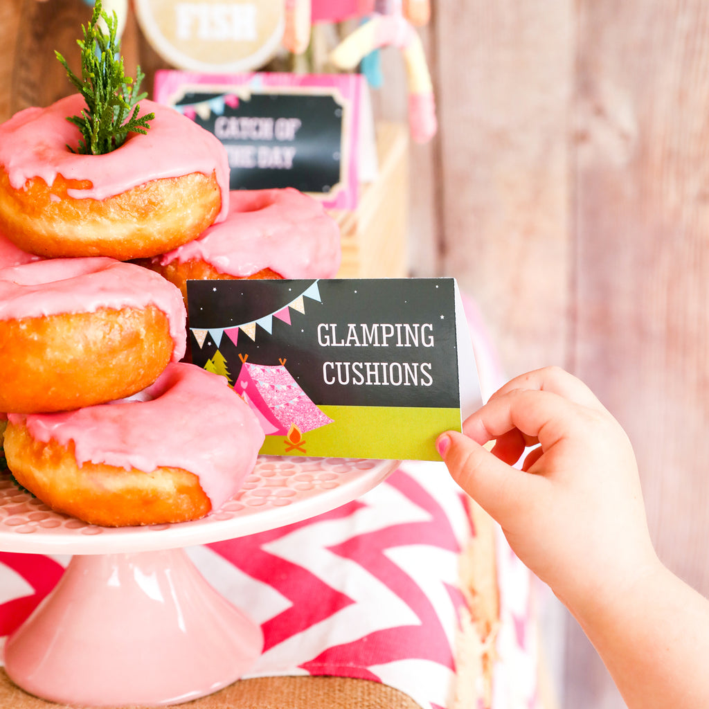 Glamping party food tent cards