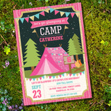 Glamping Party Invitation for a Girl | Summer Campout Invite