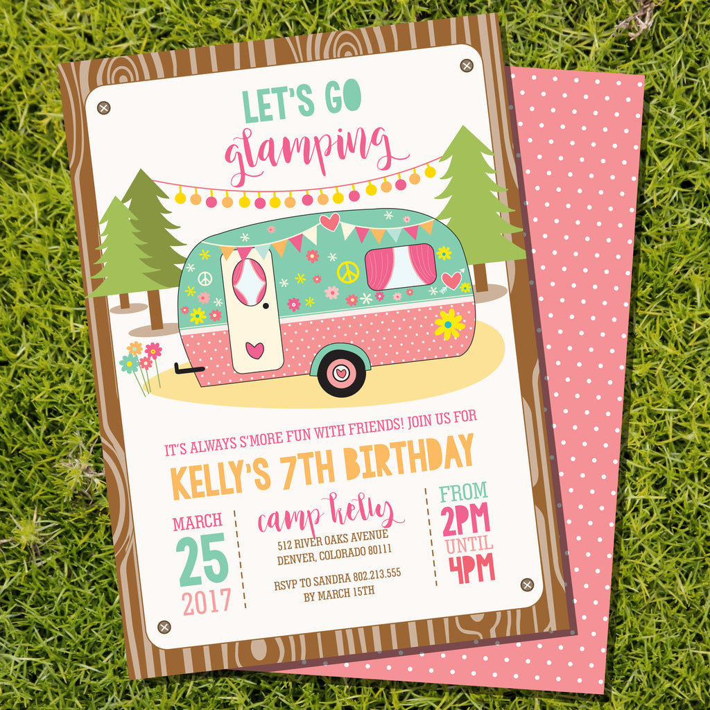 Glamping campervan girl's birthday party invitation