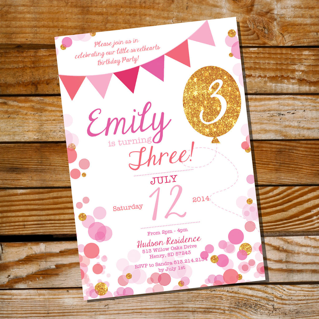 Pink and Gold Glitter Balloon Birthday Party Invitation