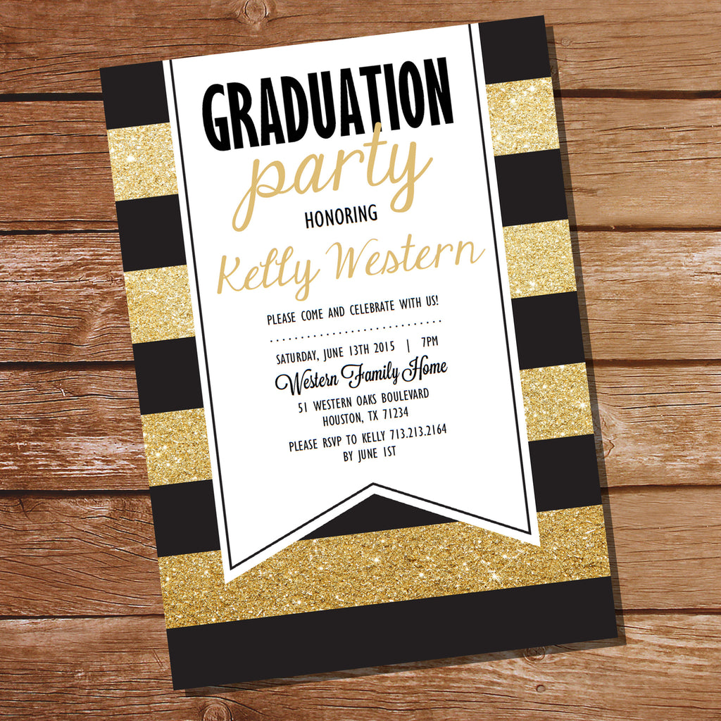 Black and Gold Graduation Invitation – Sunshine Parties