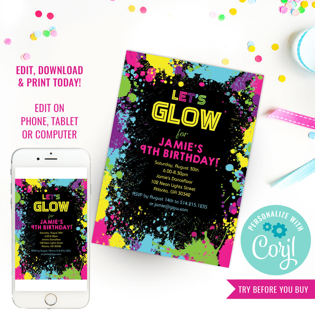 Let's Glow Neon Party Invitation | Tween Party Invitation