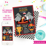 Go-Kart Racing party invitation