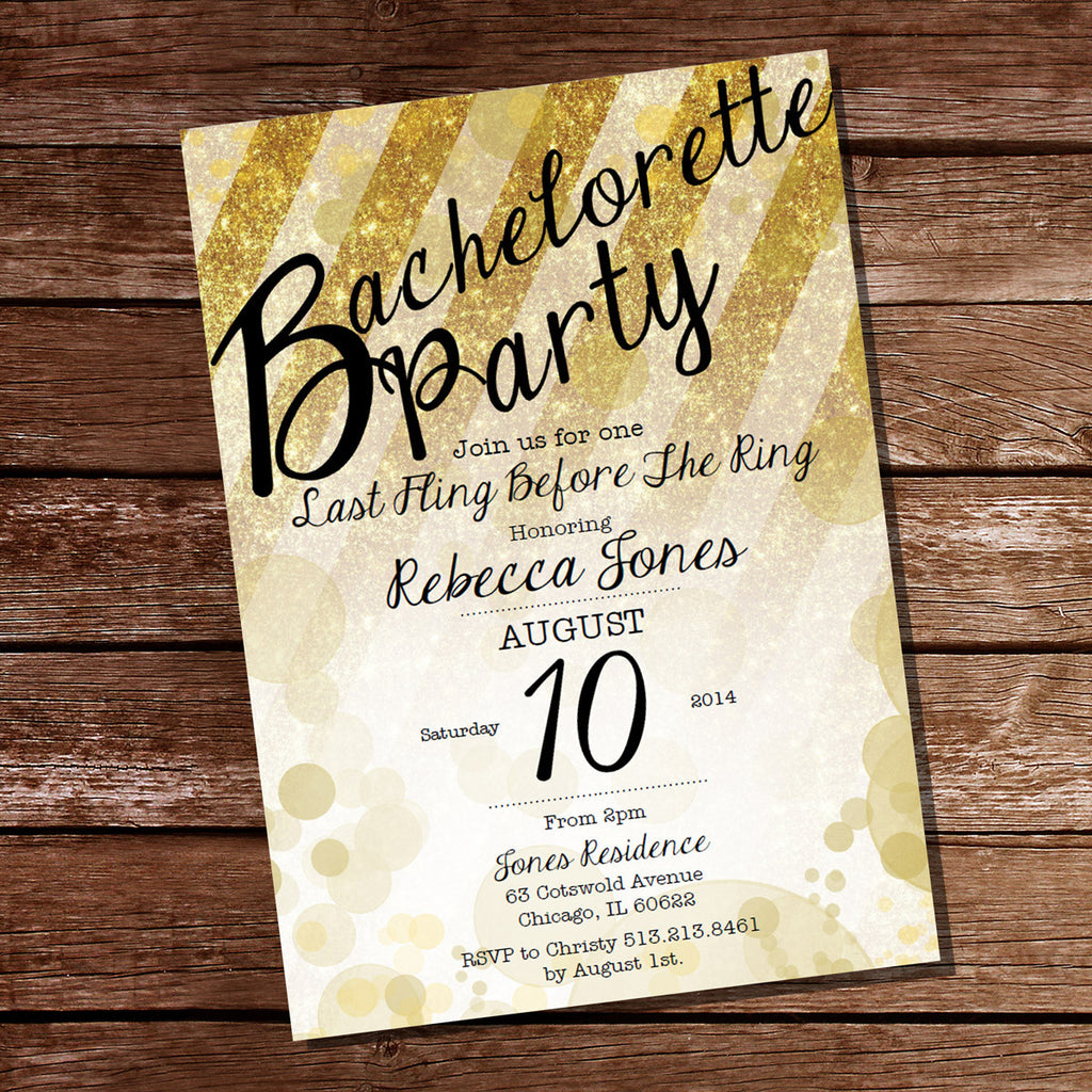 Gold Glitter Bachelorette Party Invitation